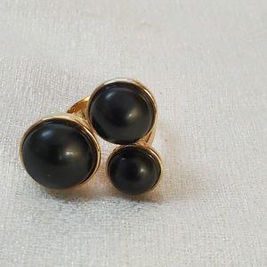 NEW Ann Taylor Goldtone Black Stone Ring 7 #1267